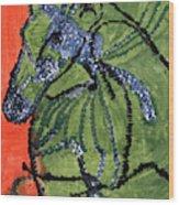 Horse On Orange And Green Wood Print