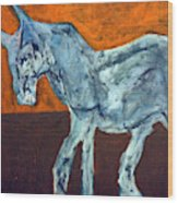 Horse On Orange Wood Print