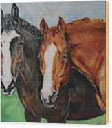Horses In Oil Paint Wood Print