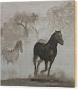 Horses In The Mist Wood Print