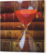 Hourglass And Old Books Wood Print