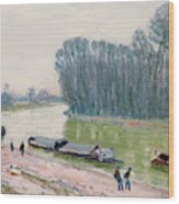 Houseboats On The River Loing Wood Print
