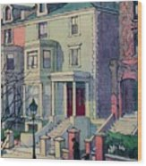 Houses In Sunlight, Hampstead, C20th Wood Print