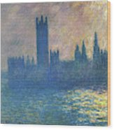Houses Of Parliament, Sunlight Effect - Digital Remastered Edition Wood Print