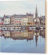 Houses Reflection In River, Honfleur Wood Print