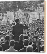 Hubert Humphrey Speaking To Crowd Wood Print