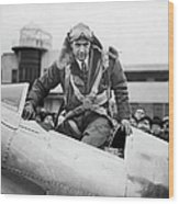 Hughes Boards His Plane Wood Print