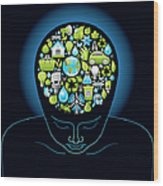 Human Head With Ecological Symbols In Wood Print