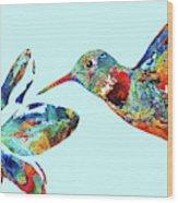 Hummingbird Blue - Sharon Cummings Wood Print