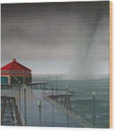 Huntington Beach Pier waterspout Wood Print