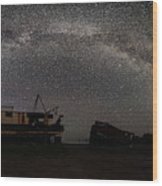 Hurkett Shipwrecks On A Late June Night Milky Way Arch Pano Wood Print