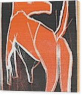 I Was Born In A Mine Orange Dog 33 Wood Print
