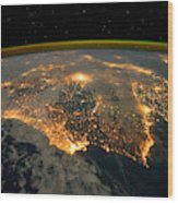 Iberian Peninsula From Space Wood Print
