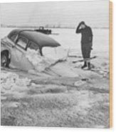 Ice Fishermans Car Sinking On Ice Wood Print