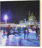 Ice Rink With Cardiff City Hall Wood Print