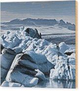 Icebergs In Iceland Wood Print