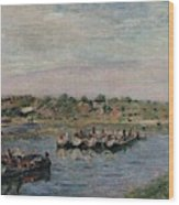Idle Barges On The Loing Canal At Saint-mammes Wood Print