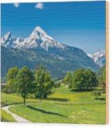 Idyllic Summer Landscape In The Alps Wood Print