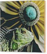 Iguana And Sunflower Wood Print