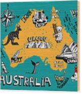 Illustrated Map Of Australia Wood Print