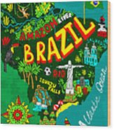 Illustrated Map Of Brazil Wood Print