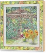 Illustrated Sunflower Picnic Wood Print