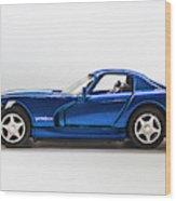 In Race Blue Wood Print