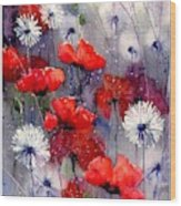 In The Night Garden - Sleeping Poppies Wood Print
