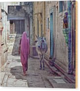 India Lady And Cow Wood Print