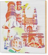 Indian Monuments Collage Wood Print