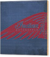 Indian Motorcycle Old Vintage Logo Blue Background Wood Print