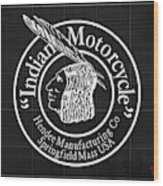 Indian Motorcycle Old Vintage Logo Blueprint Background Wood Print