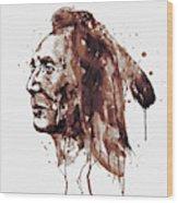 Indian Warrior Sepia Tones Wood Print