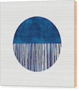 Indigo Moon- Art By Linda Woods Wood Print