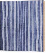 Indigo Water Lines- Art By Linda Woods Wood Print