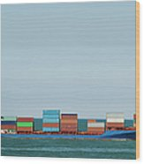 Industrial Barge Carrying Containers Wood Print