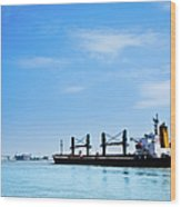 Industrial Ship On Mississippi River Wood Print