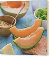Ingredients For Melon Salad Wood Print