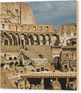 Interior Of The Colosseum, Rome, Italy Wood Print