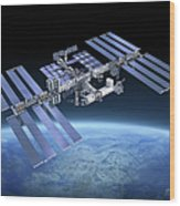 International Space Station Iss Wood Print