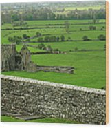 Ireland Country Scape With Castle Ruins Wood Print