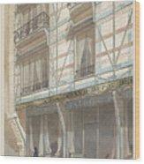 Iron Frame House With Glazed Earthenware  Wood Print