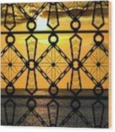 Iron Lattice Pattern St Malo Sunset Wood Print