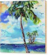 Island Solitude Palm Tree And Sunny Beach Wood Print