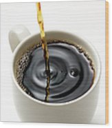 Isolated Shot Of Pouring A Fresh Coffee Wood Print