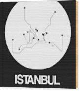 Istanbul White Subway Map Wood Print