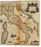 Italy Map 1635 Wood Print
