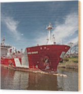 Iver Bright Tanker On The Manistee River Wood Print