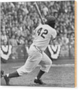 Jackie Robinson At Bat Wood Print