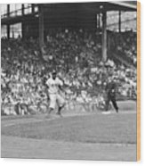 Jackie Robinson At Ebbets Field, 1956 Wood Print